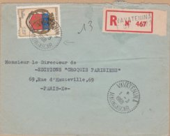 ENVELOPPE   TIMBRE 1968  RECOMMANDE VAVATENINA A PARIS 10 DISTRIBUTION  VOIR PHOTOS - Madagascar (1960-...)