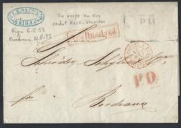R129.No Stamps International Closed Letter. Post 1853 Riga Cologne Verviers Paris Bordeaux. Rarity - Russie & URSS