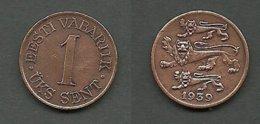 Estland Estonia Estonie 1 Sent Coin 1939 - Estland