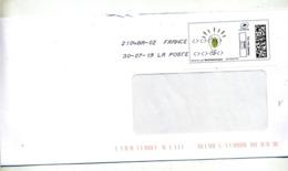 Lettre Flamme Chiffree Sous Code Symbole Inegalité Sur Timbre En Migne Ampoule Ecologique - Marcophilie (Lettres)