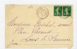 TYPE SEMEUSE - N°Yt 137 PAIRE Obli. CàD DOUBLE CERCLE PERLÉ DE DOMBLANS JURA 1914 - Postmark Collection (Covers)