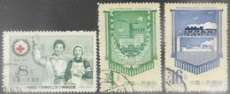 China  1955-8  Sc#242, 334, & 336  Used   2016 Scott Value $5.50 - Oblitérés