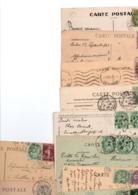 TIMBRE TYPE BLANC....VOIR DETAIL........LOT DE 47 SUR CPA...VOIR SCAN......LOT 75 - 1900-29 Blanc