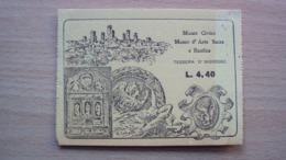 TESSERA BIGLIETTO INGRESSO AL MUSEO CIVICO ARTE SACRA E BASILICA - Old Paper