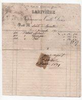 Facture à En-tête Publicitaire Larivière Imprimeur En Taille Douce Rue Du Cherche-Midi Paris 1891 Timbre Quittances - 1800 – 1899
