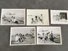 LOT DE 5 PHOTOGRAPHIES PLAGE DE FOS BOUCHES DU RHONE 1960 - Automobiles