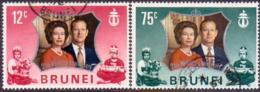 BRUNEI 1972 SG 210-11 Compl.set Used Royal Silver Wedding - Brunei (...-1984)