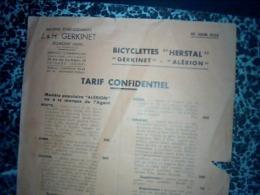 Publicitè Tract Ets GERKINET à JEUMON Annee 1933 PUB Bicyclette HERSTAL GERKINET ALERION - Advertising