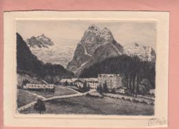 OLD POSTCARD - SWITZERLAND - SCHWEIZ -  SUISSE - ETCHING - RADIERUNG - KURHAUS ROSENLAUI - BE Berne
