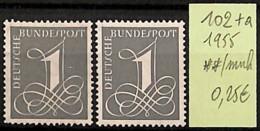 [825650]TB//**/Mnh-Allemagne 1955 - N° 102+A - BRD