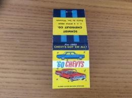 """Pochette D'allumettes ETATS UNIS """"SCHMIDT CHEVROLET CO - 60 CHEVYS"""" (voiture, Cadillac) - Boites D'allumettes"""