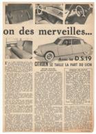 COUPURE De PRESSE 1955 SALON De L'AUTOMOBILE AVEC La DS 19 CITROEN Se TAILLE La PART Du LION (peugeot 403) - JEAN FONDIN - Cars