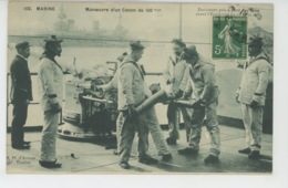 BATEAUX - MARINE NATIONALE - Manoeuvre D'un Canon De 100 M/m, Document Pris à Bord De L' IÉNA Avant Son Explosion (1907 - Guerre