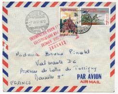 """CAMBODGE - Enveloppe Depuis Phnompenh - 1972 - Cachet Rouge """"République Kmère Agressée Par Impérialistes Viet-cong ... """" - Camboya"""