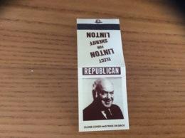 """Pochette D'allumettes ETATS UNIS """"ELECT LINTON FOR SHERIFF LINTON - REPUBLICAN"""" (politique) - Boites D'allumettes"""