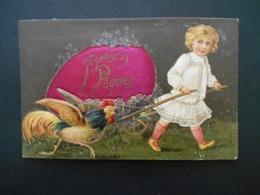 Petite Fille Tirant Gros Oeuf De Pâques En Tissu Sur Petite Charrette Avec Violettes, Coq - Gaufrée - Série 7594 - Niños