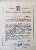 Charleroi, Université Du Travail Paul Pasteur. - Diplômes & Bulletins Scolaires