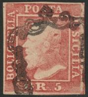 Sicilia, 5 Grana I Tavola ROSA VERMIGLIO N.9e RARISSIMA TINTA Cv 10.000 - Sicilia