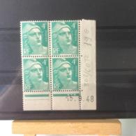 Timbres Neuf 1948 - N°808 - (Y&T) Coins Datés 15.9.1948 - Coté 19€ Marianne De Gandon - Dated Corners