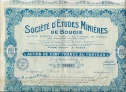 ACTION DE 100 FRANCS - SOCIETE D'ETUDES MINIERES DE BOUGIE  -ANNEE 1924 - Mines