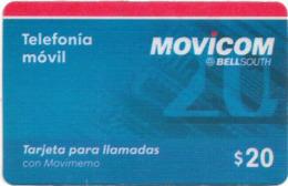 Argentina - Movicom Bell South - Blue Card (No Expiry) Prepaid 10$, Used - Argentinië