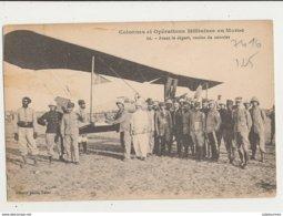 AVION AVIATEUR COLONNES ET OPERATIONS MILITAIRES AU MAROC AVANT LE DEPART REMISE DU COURRIER CPA BON ETAT - ....-1914: Précurseurs