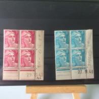 Timbres Neuf 1948 - N°806/810 - (Y&T) 2 Coins Datés 27.9.1948 - 29.10.1948 - Coté 5€ Marianne De Gandon Lot - Neufs
