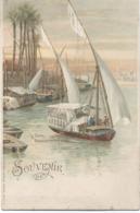 Le Caire : Dhahabiyes Au Bord Du Nil , Carte Illustrée . - Le Caire