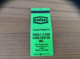 "Pochette D'allumettes ETATS UNIS Vert «TEXACO - ISBELL'S CAR CARE CENTER INC. - Terre Haute, IN"" - Matchboxes"