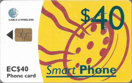 St. Lucia - C&W (Chip) - Yellow Smart Phone - Gem5 Red, 2001, 40EC$, Used - St. Lucia