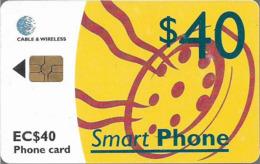 St. Lucia - C&W (Chip) - Yellow Smart Phone - Gem5 Red, 2001, 40EC$, Used - Santa Lucía