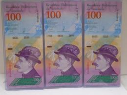 Venezuela, (3)100 Pesos 2018, Replacement, Consecutive, UNC, Beautiful Bill About Animals. - Venezuela