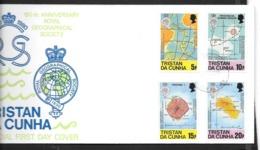 "Tristan Da Cuhna:Y & T N°281/284 Sur Enveloppe 1er Jour (superbe) 150e Ann. De La ""Royal Geographical Society"" - Tristan Da Cunha"