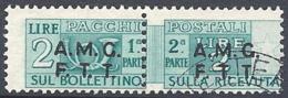 Trieste A - 1947 Corno Di Posta 2L Verde Azz S/s Su 2 Righe # Sassone PP2 - Michel PK2 - Scott Q2   USATO - Paketmarken/Konzessionen