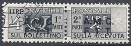 Trieste A - 1947 Corno Di Posta 4L Grigio S/s Su 2 Righe # Sassone PP4 - Michel PK4 - Scott Q4   USATO - Paketmarken/Konzessionen