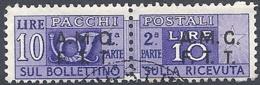 Trieste A - 1947 Corno Di Posta 10L Violetto S/s Su 2 Righe # Sassone PP6 - Michel PK6 - Scott Q6   USATO - Paketmarken/Konzessionen