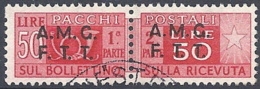 Trieste A - 1947 Corno Di Posta 50L Rosso S/s Su 2 Righe # Sassone PP8 - Michel PK8 - Scott Q8   USATO - Paketmarken/Konzessionen