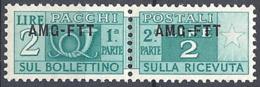 Trieste A - 1949 Corno Di Posta 2L Br Verde Azz S/s Su 1 Riga # Sassone PP14 - Michel PK14 - Scott Q14   NUOVO** MNH - 7. Triest