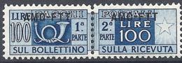 Trieste A - 1949 Corno Di Posta 100L Azzurro S/s Su 1 Riga # Sassone PP22 - Michel PK22 - Scott Q22   NUOVO** MNH - Paketmarken/Konzessionen