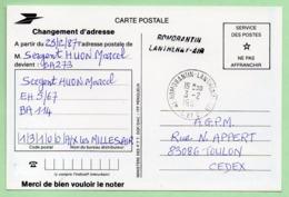 B.A. ROMORANTIN LANTHENAY-AIR  - GRIFFE + CACHET MANUEL - Sur CP PTT - - Cachets Militaires A Partir De 1900 (hors Guerres)