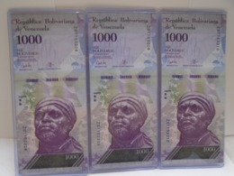 Venezuela, (3)1000 Pesos 2017, Replacement, Consecutive, UNC, Beautiful Bill About Animals. - Venezuela