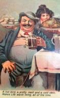 Cpa HUMOUR  LE REPAS D'UN BON VIVANT . GROS HOMME BUVEUR DE BIERE . MEAL OF FAT MAN . BEER . COMIC OLD PC - Humour