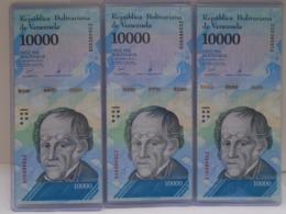 Venezuela, (3) 10000 Pesos 2017, Replacement, Consecutive, UNC, Beautiful Bill About Animals. - Venezuela
