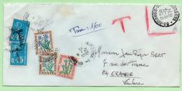 0,45 BEQUET X 2 (utilisés Comme Taxe)  + FLEURS  -  Sur ENVELOPPE NON TIMBREE - 1974 - - 1960-.... Covers & Documents