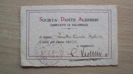 TESSERA PERSONALE ISTITUTO NAZIONALE DANTE ALIGHIERI 1931 - Vieux Papiers