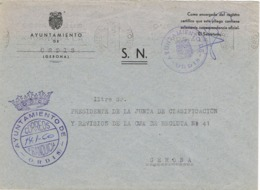 34001. Carta S.N. Franquicia Ayuntamiento ORDIS (Gerona) 1960 - 1931-Hoy: 2ª República - ... Juan Carlos I