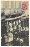 47-TONNEINS-CARTE PHOTO-Boucherie POUGET, 15 Cours De La Marne...1907  Animé - Tonneins