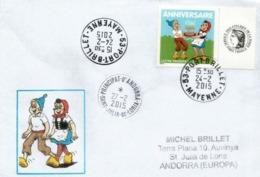 Sylvain - Sylvette (Timbre Personnalisé), Sur Lettre Port-Brillet (53) Adressée Andorra, Avec Timbre à Date Arrivée - Comics