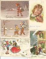 5 Cpa Bonne Année  Gelukkig Nieuwjaar Vers 1950 Enfants - Año Nuevo