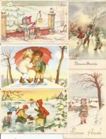 5 Cpa Bonne Année  Gelukkig Nieuwjaar Vers 1950 Enfants Neige - Año Nuevo